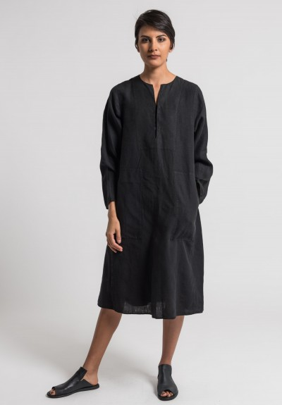 Oska Linen Taja Dress in Black