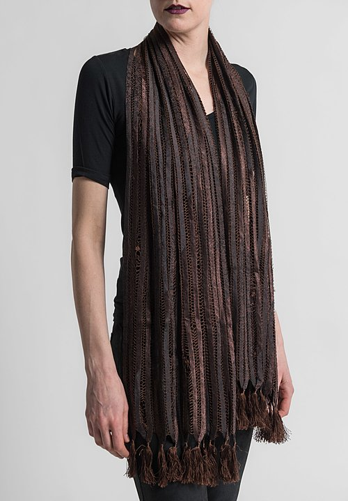 Sophie Hong Stitched Silk Ribbon and Tassel Scarf in Brown