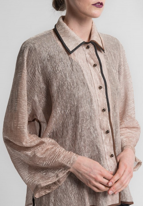 Sophie Hong Sheer Textured Silk Jacket in Rose Gold