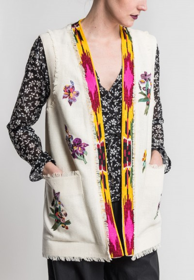 Etro Silk Embroidered & Beaded Long Vest in Natural