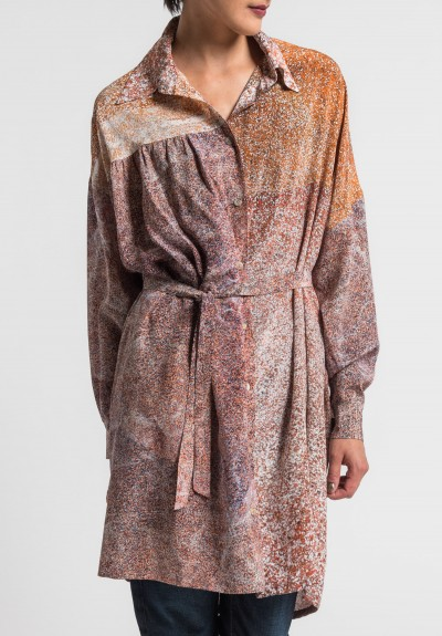 Anntian Silk Oversize Tunic Shirt in Rust