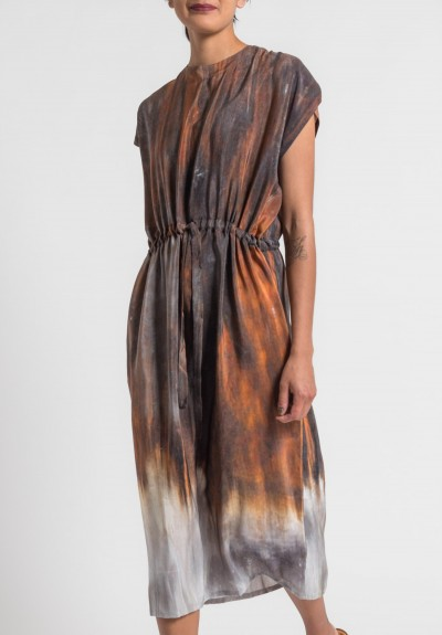 Anntian Silk Simple Long Dress in Rust