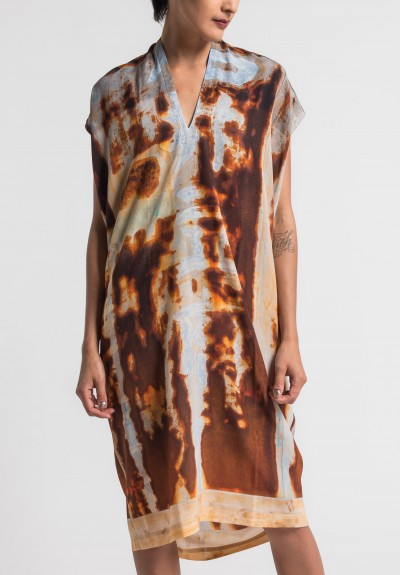 Anntian Silk V-Neck Dress in Rust