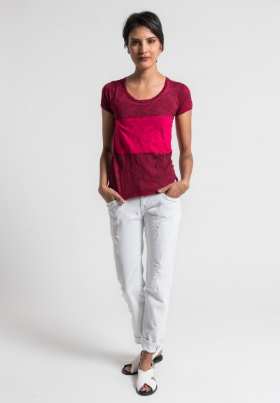 Gilda Midani Pattern Dyed Round Neck Short Sleeve Tee in Pink/Blood