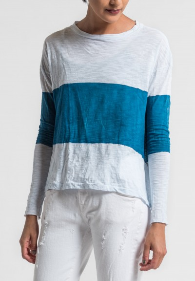 Gilda Midani Pattern Dyed Long Sleeve Straight Trapeze Tee in Sea/White