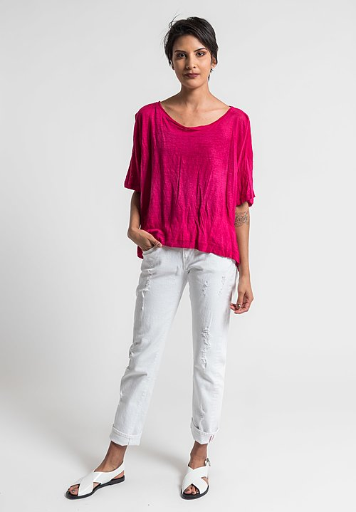 Gilda Midani Solid Dyed Linen Short Sleeve Tee in Pink