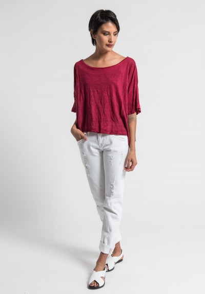 Gilda Midani Solid Dyed Linen Short Sleeve Tee in Blood