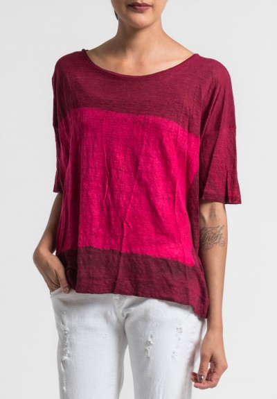 Gilda Midani Pattern Dyed Linen Short Sleeve Tee in Pink/Blood