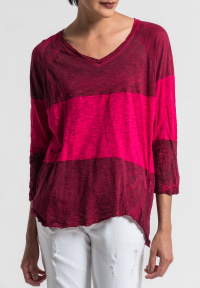 Gilda Midani Pattern Dyed V-Neck Long Sleeve Tee in Pink/Blood
