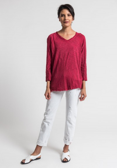 Gilda Midani Solid Dyed V-Neck Long Sleeve Tee in Blood