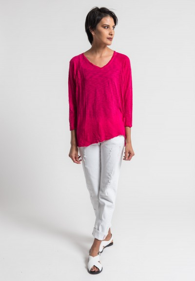 Gilda Midani Solid Dyed V-Neck Long Sleeve Tee in Pink