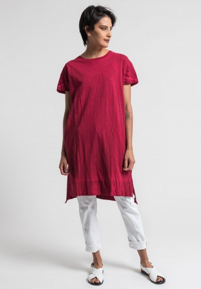 Gilda Midani Solid Dyed Cotton Japa Tunic Dress in Blood