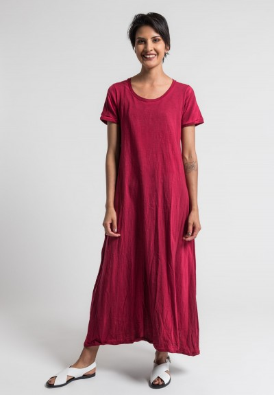 Gilda Midani Solid Dyed Short Sleeve Monoprix Dress in Blood