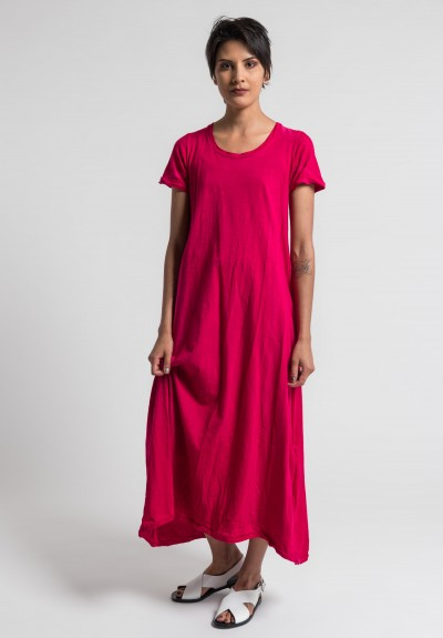Gilda Midani Solid Dyed Short Sleeve Monoprix Dress in Prink
