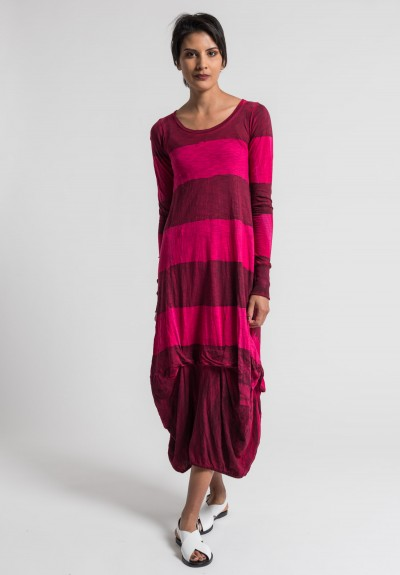 Gilda Midani Pattern Dyed Long Balloon Dress in Pink/Blood