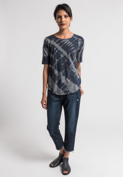 Raquel Allegra Stretch Cotton Tee in Midnight