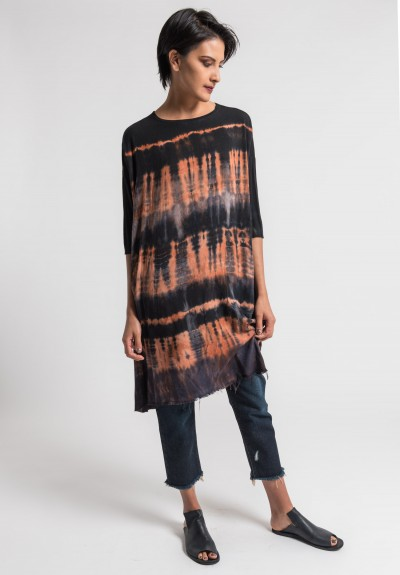 Raquel Allegra Oversized Tunic Dress in Black Orange