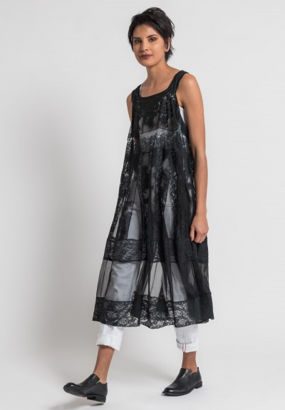 Marc Le Bihan Silk/Cotton Lace Dress in Black
