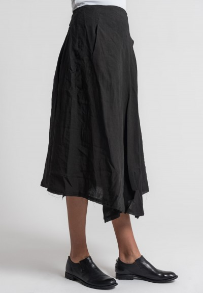 Marc Le Bihan Linen Wrap Skirt in Black