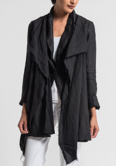 Marc Le Bihan Linen Faux Shawl Lapel Blazer in Black