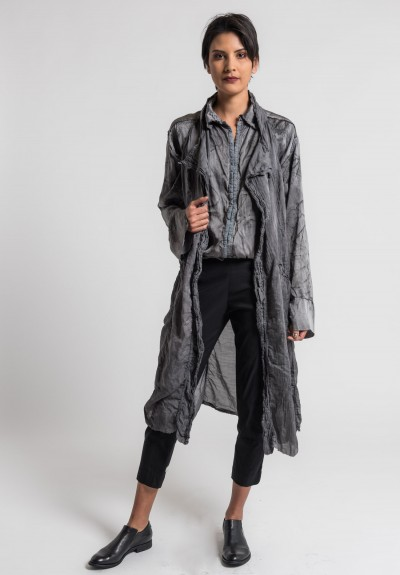 Jaga/Duuya Silk/Cotton Long Vest in Grey