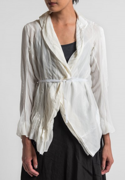 Marc Le Bihan Sheer Silk & Pinstripe Jacket in Off White