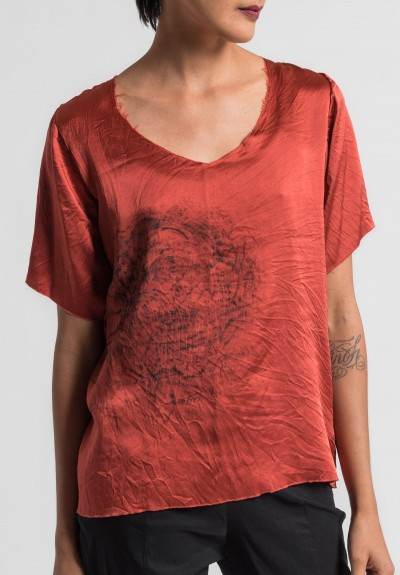 Jaga/Duuya Silk Hand Painted Top in Orange