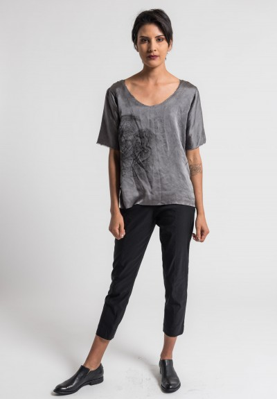 Jaga/Duuya Silk Hand Painted Top in Grey