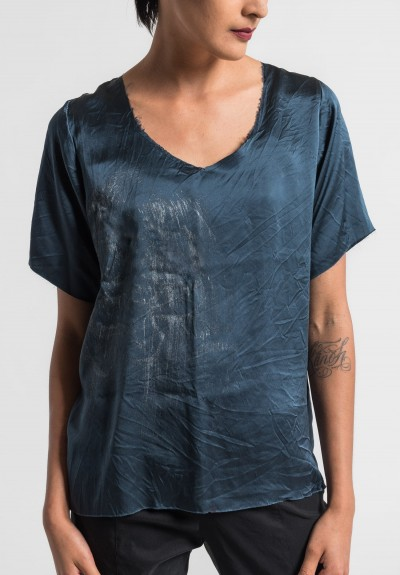 Jaga/Duuya Silk Hand Painted Top in Navy