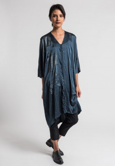 Jaga/Duuya Silk Hand Painted Relaxed Tunic in Navy