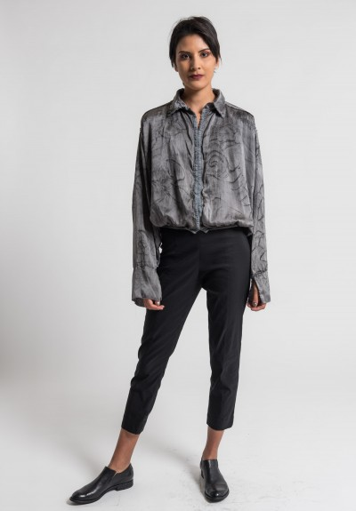 Jaga/Duuya Silk Hand Painted Blouse in Grey