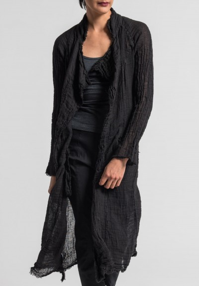 Jaga Linen Gauze Long Jacket in Black