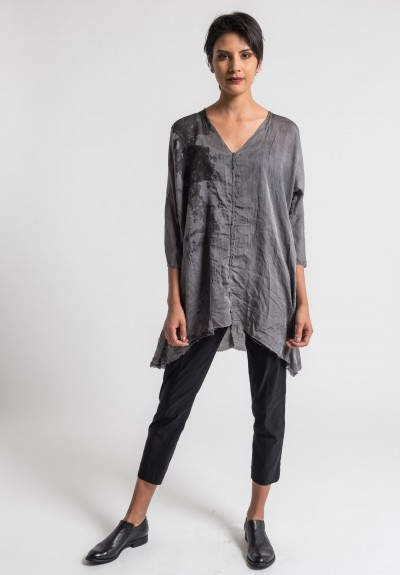 Jaga/Duuya Silk/Cotton V-Neck Tunic in Grey