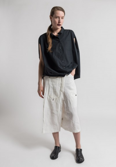 Rundholz Linen Drop Crotch Cropped Pants in Milk