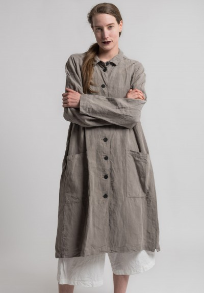 Rundholz Linen Oversize Long Jacket in Desert