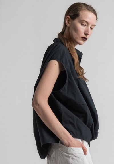 Rundholz Cotton Sleeveless Cocoon Shirt in Black