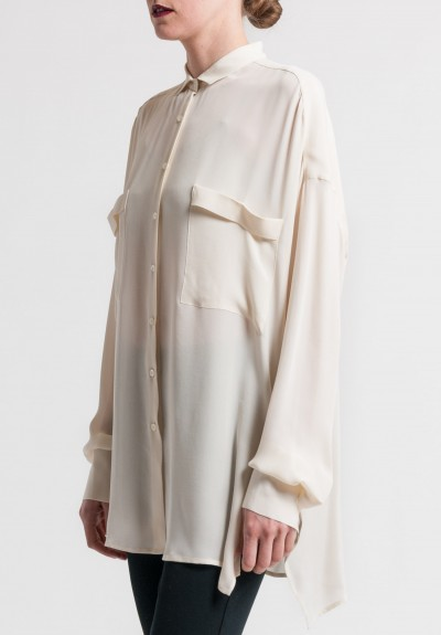 Arjé Silk Oversized Double Pocket Blouse in Bone