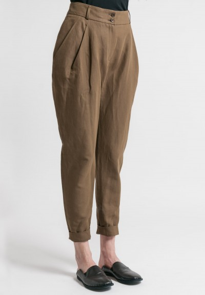Arjé Cotton/Linen Tailored Pants in Olive