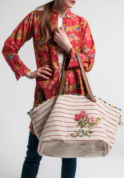 Péro Embroidered & Beaded Cotton and Leather Tote in Red/Natural