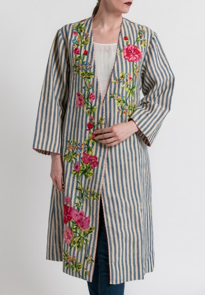 Péro Linen/Cotton Floral Embroidery Jacket in Multicolor
