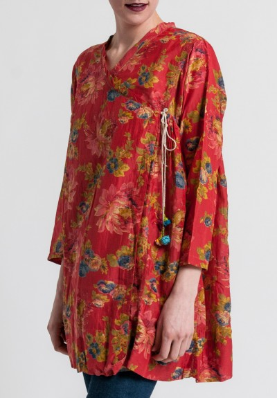 Péro Cotton/Silk A-line Wrap Tunic in Red Floral