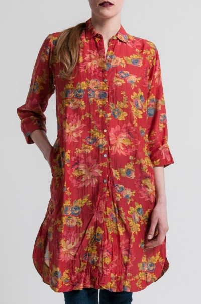 Péro Cotton/Silk Button-Down Tunic in Red Floral