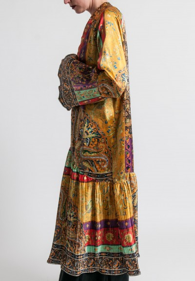 Etro Runway Silk Long Pleated Open Jacket in Multicolor
