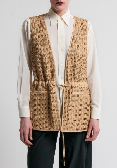 Ralph Lauren Linen and Hand-Woven Leather Tracy Vest in Tan