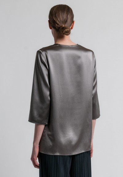 Peter Cohen 3/4 Sleeve Silk Blouse in Pewter