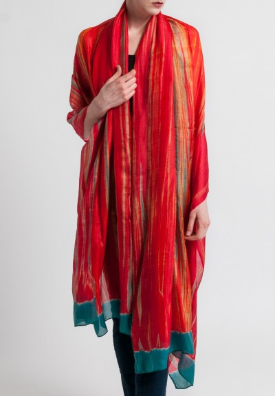 Raga Designs Silk Dyed Scarf in Red/Teal