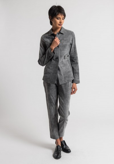 Peter O. Mahler Cold Dyed Stretch Linen Jacket in Grey