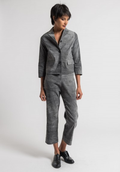 Peter O. Mahler Cold Dyed Stretch Linen Short Jacket in Grey