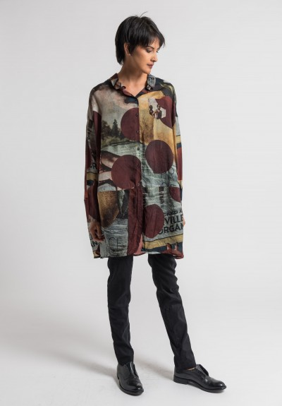 Rundholz Oversized Cocoon Print Shirt in Design 004