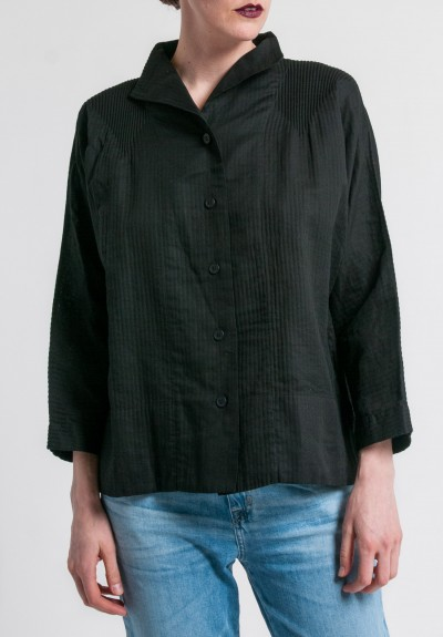 Issey Miyake Double Gauze Cotton Shirt in Black